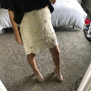 UO Cream Lace Mini Skirt